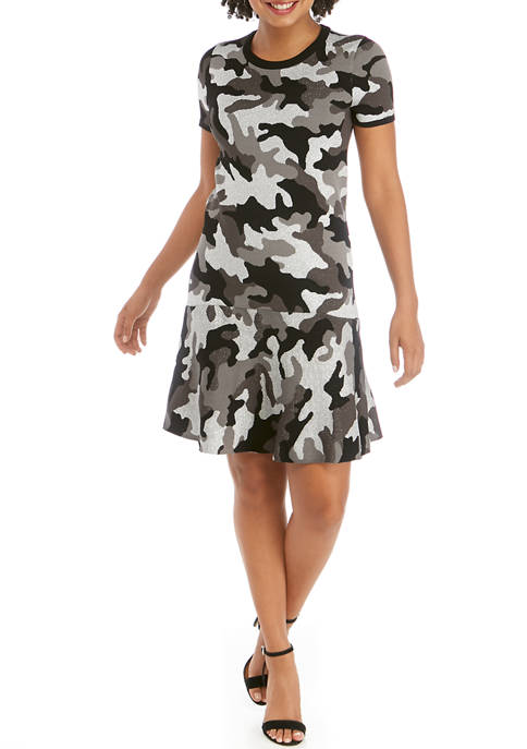 MICHAEL Michael Kors Womens Camo Sweater Dress