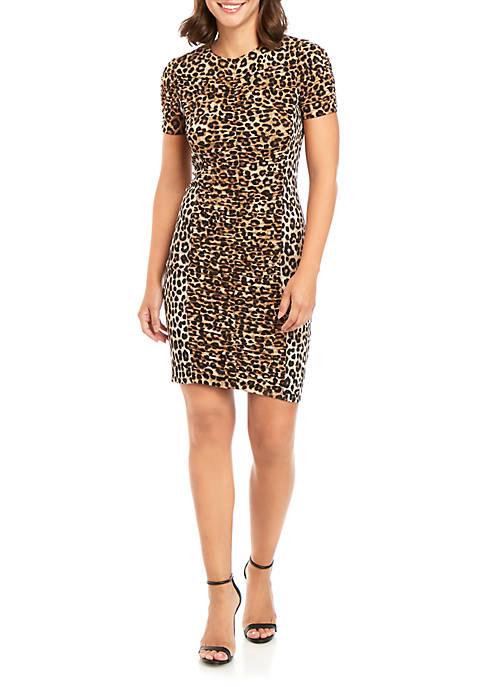 MICHAEL Michael Kors Mixed Cheetah Ruch Dress