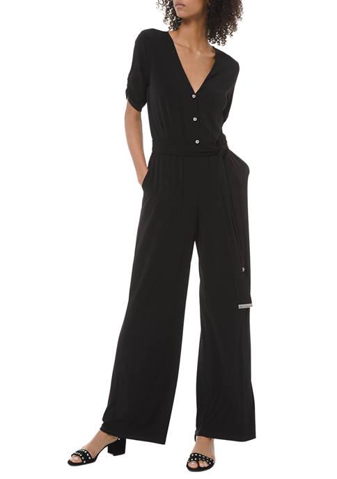 MICHAEL Michael Kors Womens Solid Button Front Jumpsuit