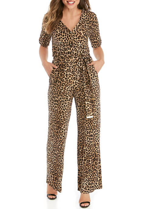 MICHAEL Michael Kors Womens Cheetah Button Jumpsuit