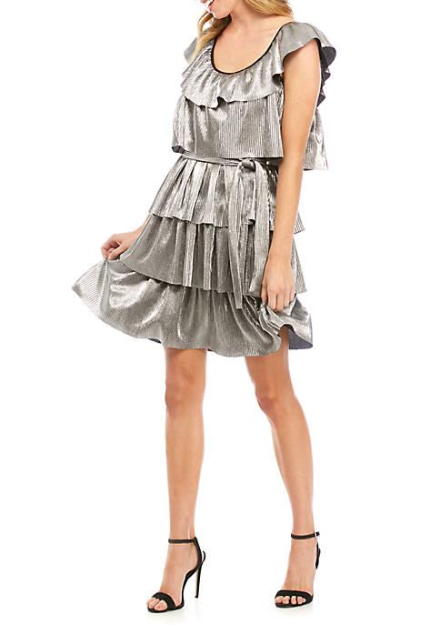 MICHAEL Michael Kors Metallic Tier Pleated Dress