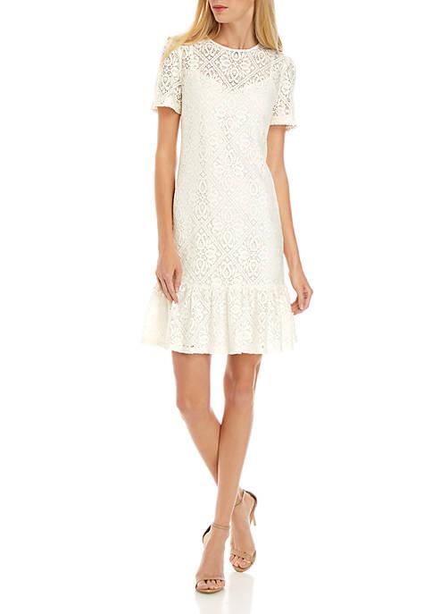 MICHAEL Michael Kors Ruffle Hem Lace Dress