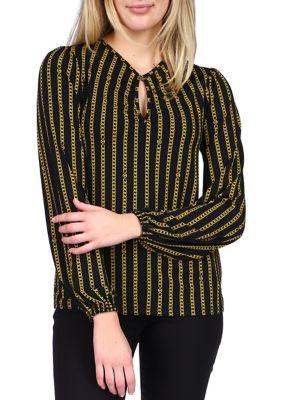Michael Michael Kors Womens Chain Logo Keyhole Long Sleeve Top