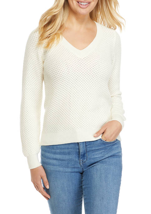 MICHAEL Michael Kors Womens V-Neck Waffle Textured Sweater