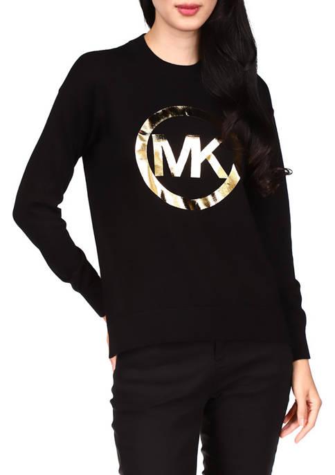 MICHAEL Michael Kors Long Sleeve Foil Logo Sweater