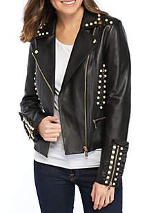 Studded Frill Moto Jacket