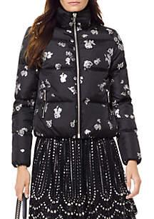 Foil Print Rose Puffer Jacket