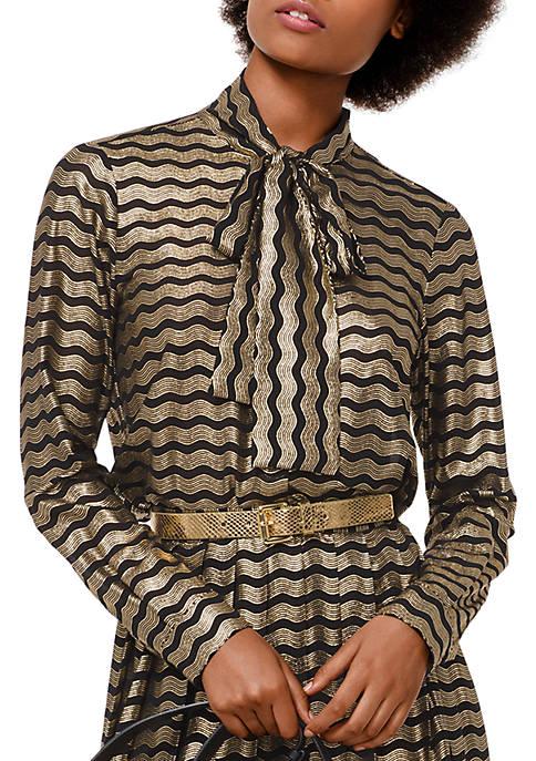 MICHAEL Michael Kors Swing Foil Stripe Tie Neck