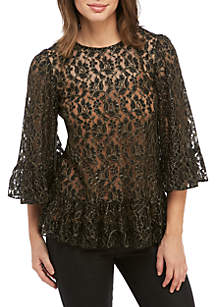 3/4 Bell Sleeve Metallic Lace Blouse