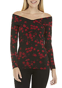 Long Sleeve Rose Print Crossover Top