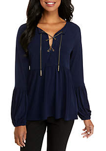 Solid Chain Peasant Top