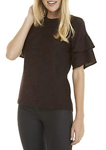 Ruffle Sleeve Lurex Knit Top