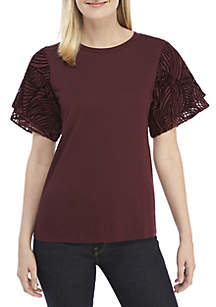 Velvet Flutter Sleeve Knit Top