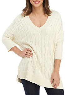MICHAEL Michael Kors Cable V-Neck Poncho Sweater
