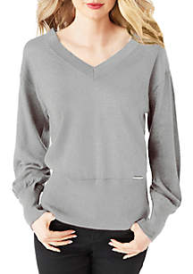 Double V-Neck Lurex Sweater