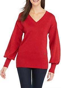 Double V-Neck Lurex Sweater