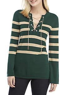 Lurex Stripe Chained Tunic Sweater