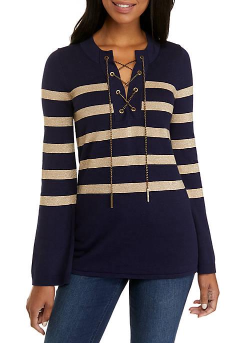 MICHAEL Michael Kors Lurex Stripe Chained Tunic Sweater