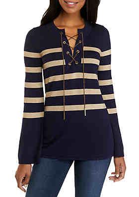 bb447f353 MICHAEL Michael Kors Lurex Stripe Chained Tunic Sweater ...