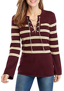 Lurex Stripe Chained Tunic Sweater