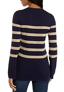 daea236f49 MICHAEL Michael Kors Lurex Stripe Chained Tunic Sweater