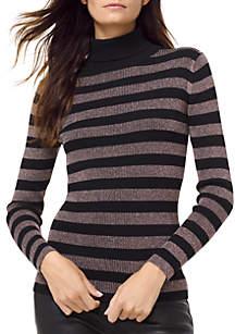 Lurex Stripe Turtleneck Sweater