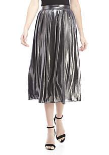 Foil Coat Pleated Skirt