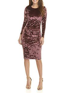 Velvet Long Sleeve Midi Dress