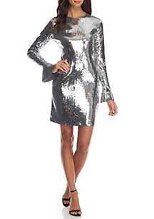 Sequins Flounce Sleeve Dress