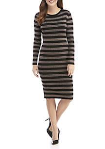 Lurex Striped Midi Dress