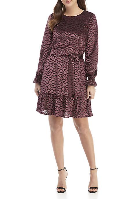 Velvet Jacquard Tie Waist Dress