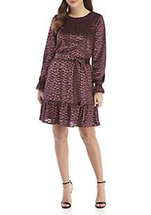MICHAEL Michael Kors Velvet Jacquard Tie Waist Dress
