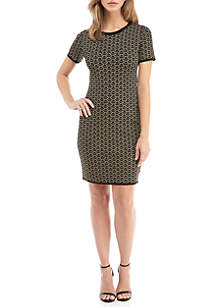 Deco Print Jacquard  Fit and Flare Dress