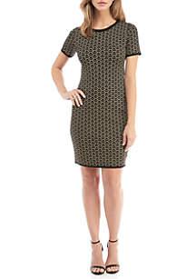 MICHAEL Michael Kors Deco Print Jacquard  Fit and Flare Dress