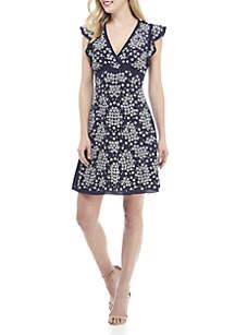 Sequin Floral Lace Sheath Dress