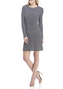 Long Sleeve Textured Stripe Dress