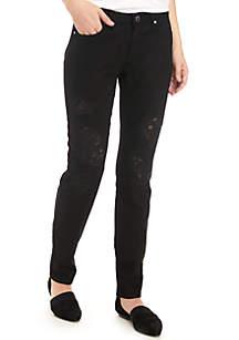 Lace Patch Black Denim Jeans