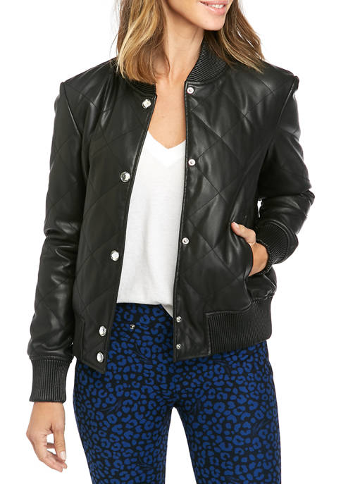 MICHAEL Michael Kors Womens Faux Leather Quilted Bomber