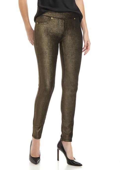 MICHAEL Michael Kors Womens Gold Foil Leggings