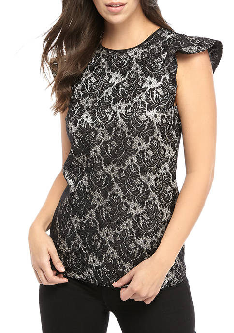 MICHAEL Michael Kors Womens Foil Jacquard Flutter Sleeve