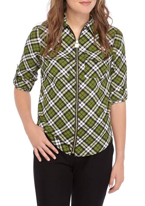 Womens Plaid Dog Tag Shirt