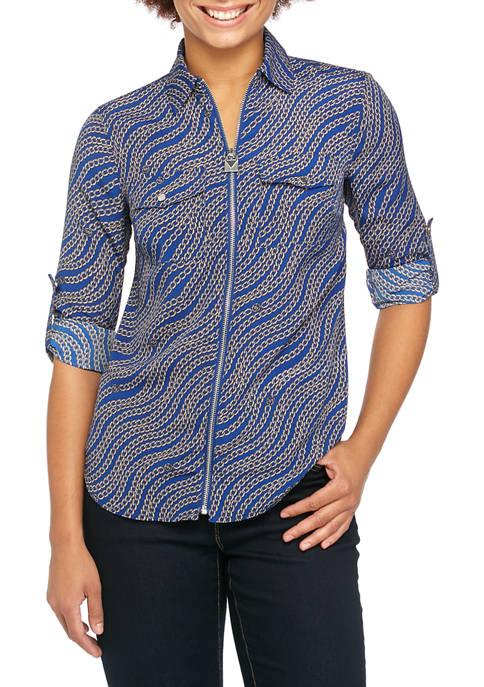 MICHAEL Michael Kors Womens Chain Dog Tag Shirt