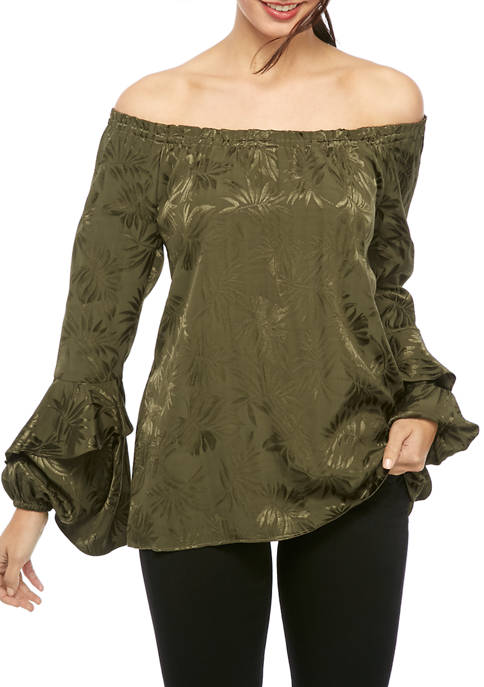 Womens Satin Jacquard Off The Shoulder Blouse