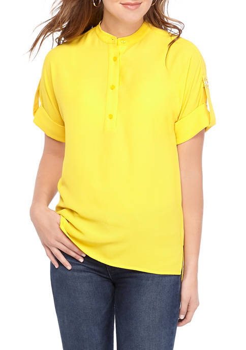 MICHAEL Michael Kors Womens Roll Sleeve Shirt