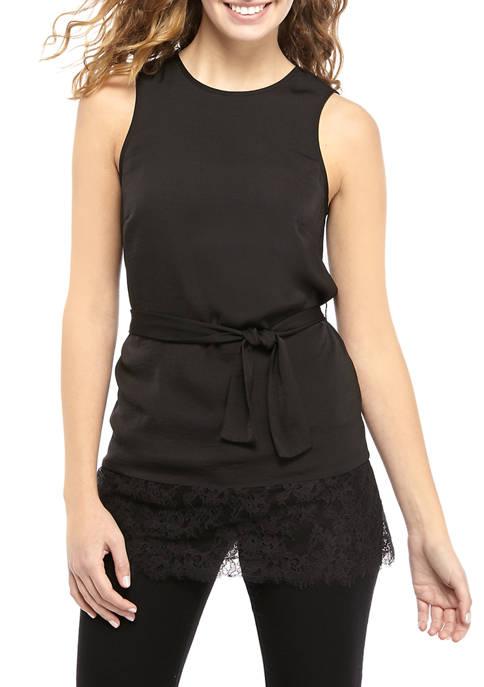 MICHAEL Michael Kors Womens Lace Trim Tunic Blouse