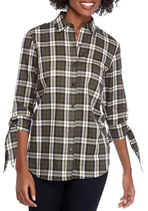 MICHAEL Michael Kors Womens Tie Sleeve Plaid Shirt