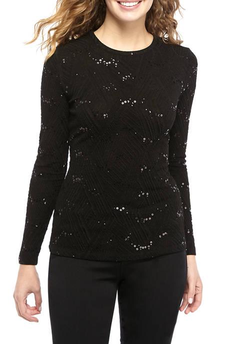 MICHAEL Michael Kors Womens Sequin Texture Crew Neck