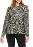 Womens Cheetah Jacquard Crew Neck Knit Shirt
