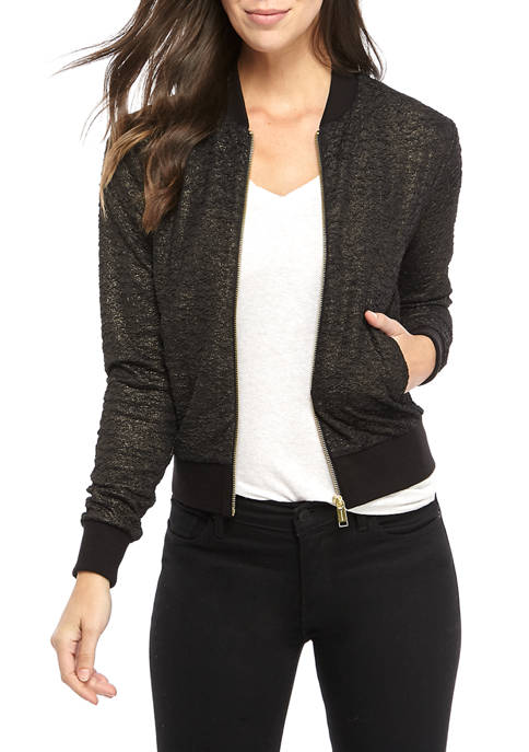 Womens Lurex Textured Bomber Jacket