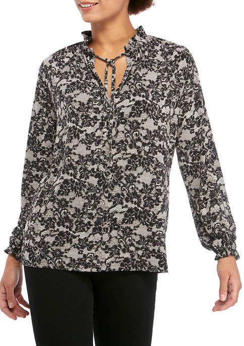MICHAEL Michael Kors Womens Lace Print High Neck